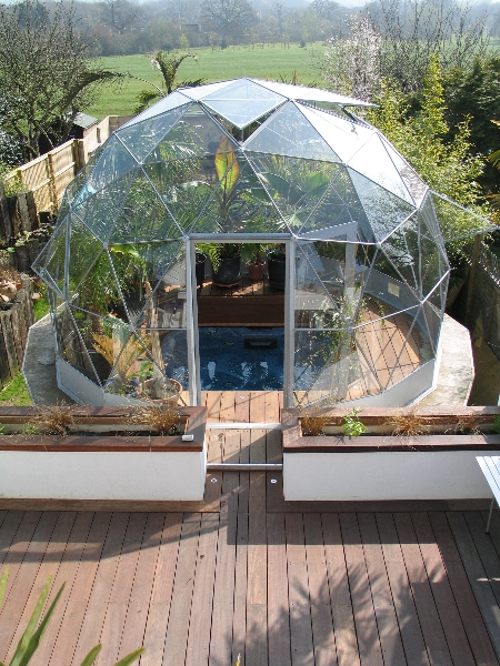 Geodesic dome building costs and geodesic dome greenhouse for Inground pool greenhouse