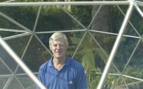 Director Mr Bruce Cowan in a Solardome glasshouse dome