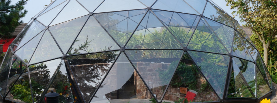 Solardome glasshouse with window film